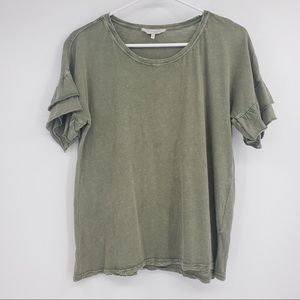 Lucky Brand T shirt Green Ruffle Sleeve Short Sl